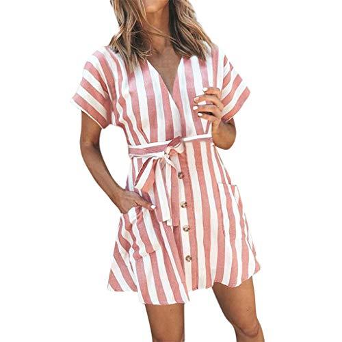 Wawer Sommerkleid Damen Kleider Streifen Taste Kleid Elegant Kurz Hohe Taillen Minikleid Partykleid Strandmode - Taste Korsett