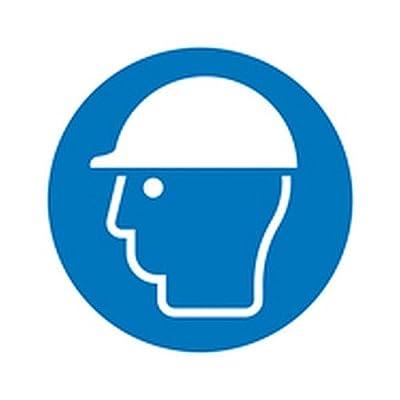 Schild Kopfschutz benutzen Gebotszeichen Ø 40,0cm Alu