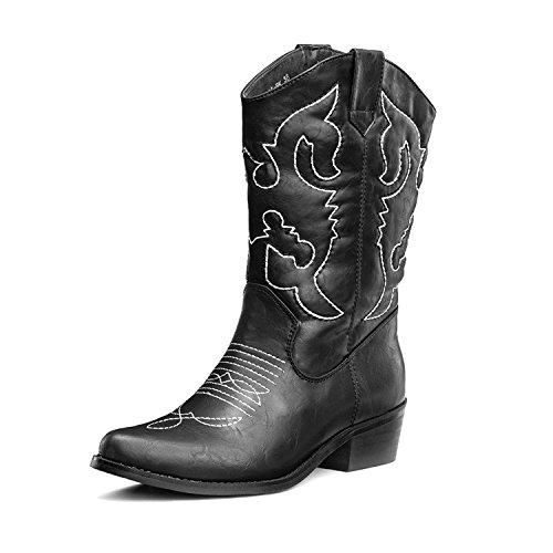 SheSole Damen Stiefel Schwarz Größe 37 (Größe 13 Breite Kleid Schuhe Frauen)