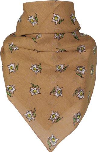 Bandana mit Edelweiss in 15 Farben aus Baumwolle, Farben:camel, Größen:Einheitsgröße