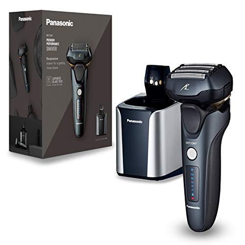 Panasonic ES-LV97-K803 Nass/Trocken-Rasierer, 5-fach-Scherkopf mit Linearmotor, inklusiv Reinigungs- und Ladestation, schwarz