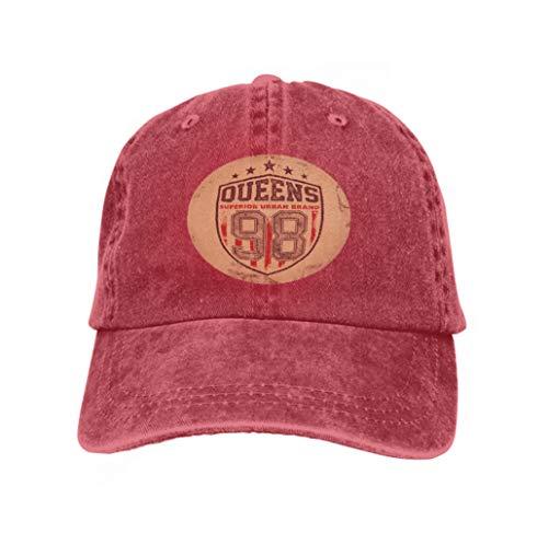 Xunulyn Adjustable Hat Baseball Flat Bottom Cap Vintage Queens Typography red