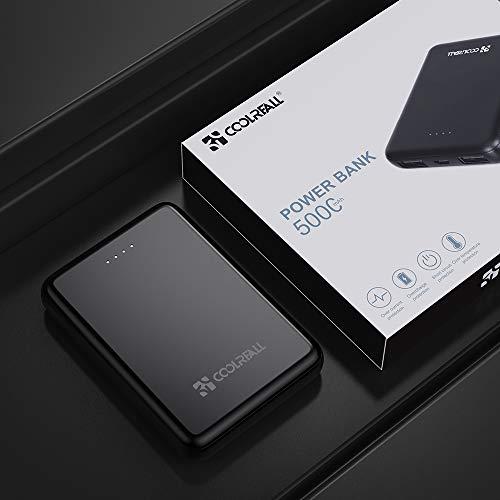 CoolReall Powerbank 5000mAh, Die Kleinere und Leichtere Power Bank mit LED-Statusanzeige,New Dual Ports Externer Akku Kompatibel mit iPhone, iPad, Huawei,Samsung Galaxy und Weitere Smartphones