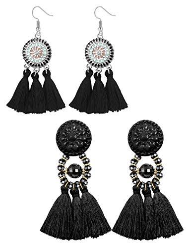 sailimue 2 Paare Boho Quasten Ohrringe für Damen Mädchen Lange Fransen Tropfen Ohrringe Sunflower Tassel Ethnische Schmuck Geschenke