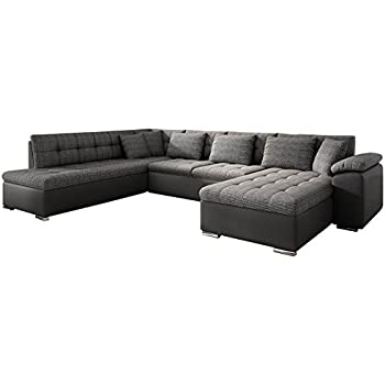 Wohnlandschaft couchgarnitur xxl sofa u form schwarz grau ottomane rechts k che - Couchgarnitur xxl ...