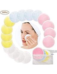 Lomire 16 Pcs Cotons Demaquillants Bio, Coton de démaquillage lavables et réutilisables, tampons de nettoyage en fibre de bambou avec un sac à ligne, doux pour le soin du visage yeux peau, 4 couleurs
