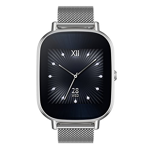 Asus Zenwatch 2 WI502Q-1MSIL001 (3,7 cm (1,45 Zoll), Qualcomm Snapdragon, 320 x 320 pixels, Android, Amoled, 4GB, Metallarmband) milanaise/silber