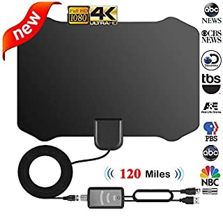 Indoor TV Aerial, 120 Miles Digital HDTV Amplified Antenna Arial Freeview 4K 1080P HD VHF UHF for Local Channels With Signal amplifier Support ALL Television-13ft Coax Cable