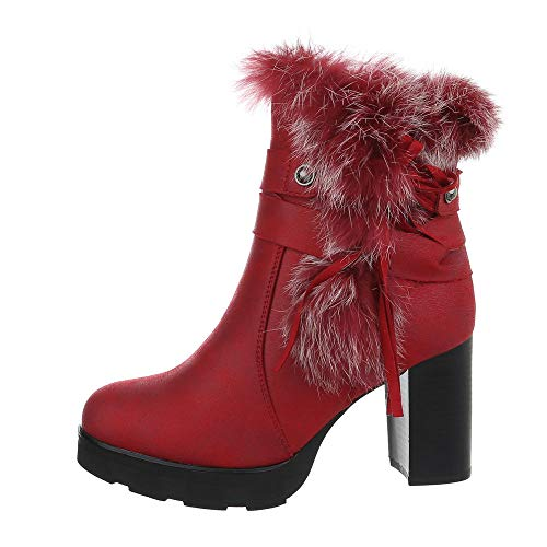 Ital-Design Damenschuhe Stiefeletten High Heel Stiefeletten Synthetik Rot Gr. 36