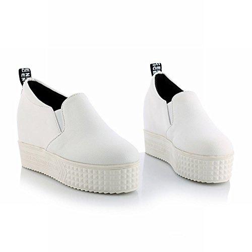 MissSaSa Damen Plateau Slipper mit Keilabsatz bequem und simpel flach Wedge Schuhe Weiß(PU Leather)