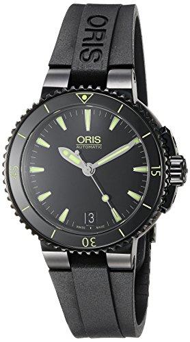 ORIS WOMEN'S 36MM BLACK RUBBER BAND STEEL CASE AUTOMATIC WATCH 73376524722RS