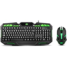 BG-Gaming Ranger Force - Pack Teclado y ratón, Color Negro y Verde