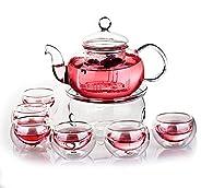 مجموعة مكونة من 10 قطع تتضمن ابريق صنع شاي من الزجاج بفلتر مع مسخن طقم مكون من 6 اكواب شاي من شووو