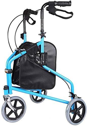 URB Rollator Leichtklapp DREI-Rad-Roller Walker mit gepolstertem Sitz, Doppelsicherheitsbremse, höhenverstellbar, 3-Rad Mobility Aid Mit Removable Storage-Rack