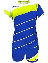 Zeus Kit Lybra Femme Electric Royal-Blanc-Jaune Fluo Femmes Vêtement Volleyball Complet Tournoi École Sport Training Volley Pegashop