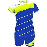 Zeus Kit Lybra Donna Damen Volleyball Trikot Hose Shirt Indoor Handball Training Ausbildung Gelb-Blau-Weiss XXS