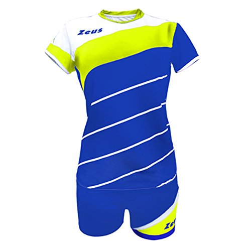 Zeus Kit Lybra Femme Electric Royal-Blanc-Jaune Fluo Femmes Vêtement Volleyball Complet Tournoi École Sport Training Volley Pegashop, ELECTRIC ROYAL-GIALLO FLUO-BIANCO, XXS