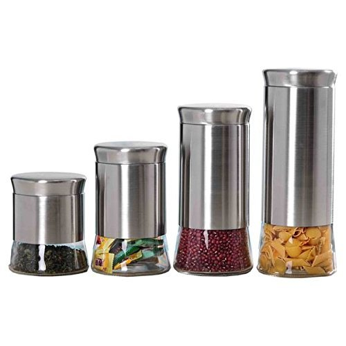 Home Basics Essence Clear Glass And Stainless Steel Canister Set (Set Of 4) By Home Basics