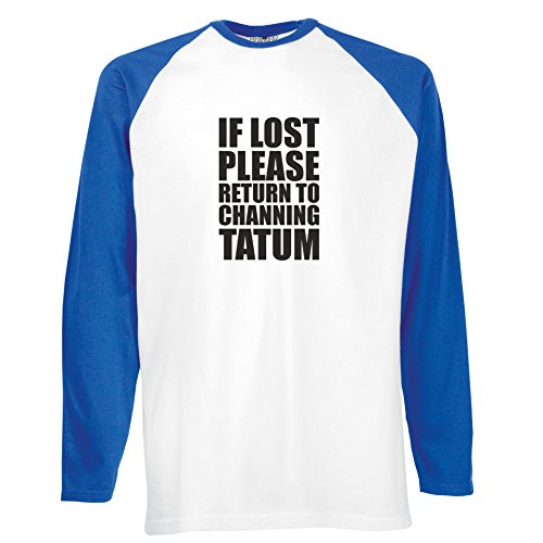 Brand88 - If Lost Please Return To Channing Tatum, Langarm Baseball T-Shirt Weiss & Blau