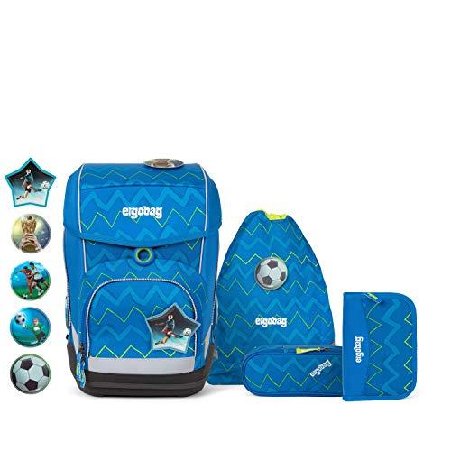 Ergobag cubo LiBäro 2:0, ergonomischer Schulrucksack, Set 5-teilig, 19 Liter, 1.100 g, Zickzack Blau Grün