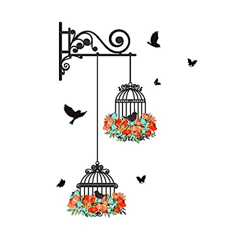 Winhappyhome Bird Cage Decoration Painting Wall Art Stickers for Bedroom Living Room Coffee Shop Background Removable Decor