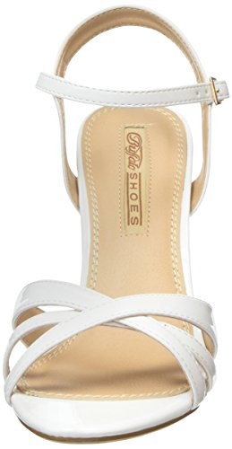 Buffalo 312703 PATENT PU Damen Knöchelriemchen Sandalen Weiß (WHITE)