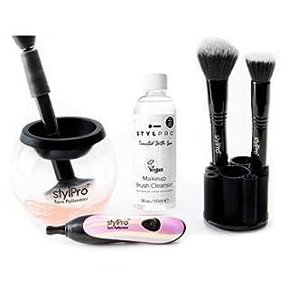 STYLPROTM - Make Up Pinsel Reiniger & Trockner Set | Perlmutt Colour Edition | Elektrischer Pinselreiniger Make Up | Schminkpinsel Reiniger | Make Up Zubehör | Sauber und trocken in nur 30 Sekunden |