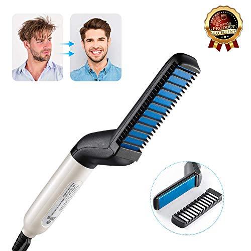 Peine alisador de barba Ochioly, desenredante y voluminizador, cepillo alisador de barba para hombres, alisador de barba portátil con función antiquemaduras