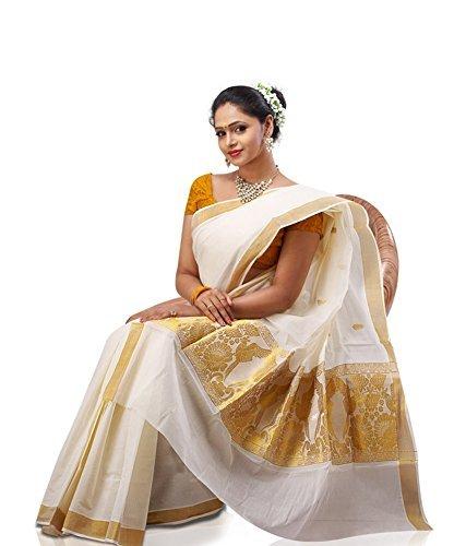 fashionkiosks Women's Cotton Saree With Blouse Piece (12Parrot _Cream)