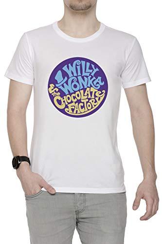 Erido Willy Wonka and The Chocolate Factory - Gene Wilder Herren T-Shirt Rundhals Weiß Kurzarm Größe S Men's White T-Shirt Small Size ()