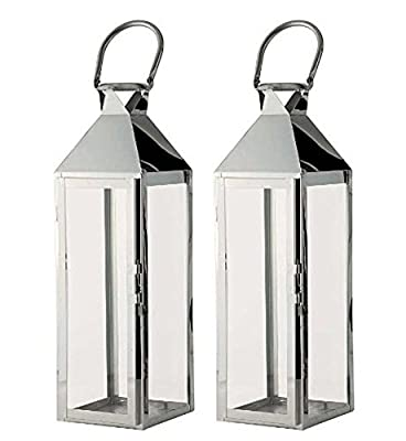 Silver Hampton Candle Lanterns 55cm (Set of 2) by Selections by Selections