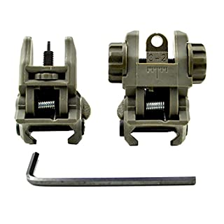 Sniper® Sight Combo Set vorne und hinten; Flip Up Backup Eisen Sehenswürdigkeiten; Lötfahnen A1A2Sehenswürdigkeiten; Grün