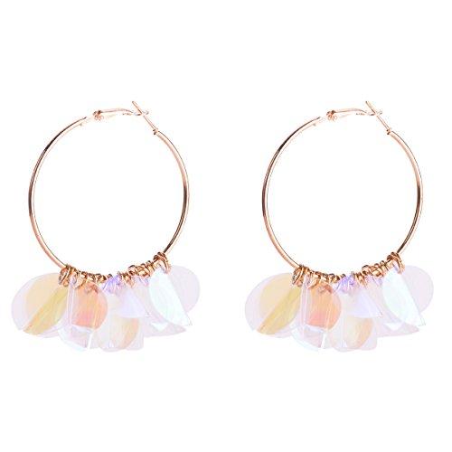 Mann Der Blasse Kostüm - GLJIJID Pailletten Ohrringe Exquisiter Ring, Einfaches Atmosphärisches Design, Klare Farbe, 7.3 * 6.6Cm Blass