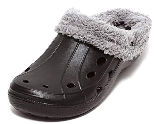 Zapato Unisex Damen Herren Clogs Winterclogs Sommerclogs mit und ohne Fell tragbar SCHWARZ GRAU Gr. 41-45 (42, schwarz)