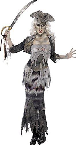Smiffys, Damen Geisterschiff Ghulina Kostüm, Oberteil, Rock, Jacke und Hut, Größe: L, 38888