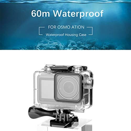 Sansee Wasserdicht Schutzhülle Gehäuse Case Shell Tauchen 60M Kompatibel für DJI OSMO Action Kamera mit Schnellmontage Klammer Zubehör für DJI OSMO Action Kamera