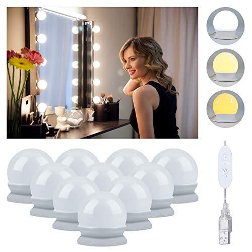 HIP TEC Cable USB Luces de espejo LED con 3 modos de color, 10 luces de maquillaje de brillo ajustables para espejos de maquillaje, iluminación de baño (sin espejo)