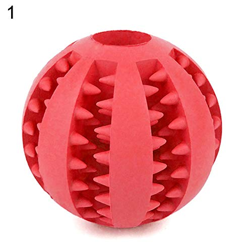 xMxDESiZ Pet Dog Puppy Chewing Training Squeaky Food Dispenser Leakage Ball Teething Toy red-S -