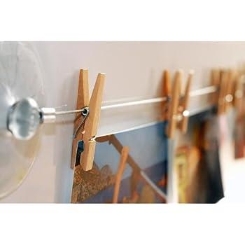HAB & GUT (MC400) Fotoleine aus Stahl 120 cm mit 12 naturbelassenen Holzklammern