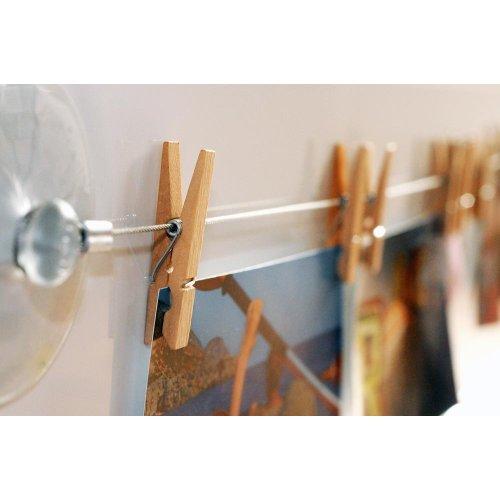 HAB & GUT (MC400) Fotoleine aus Stahl 120 cm mit 12 naturbelassenen Holzklammern (Bild Wäscheleine)