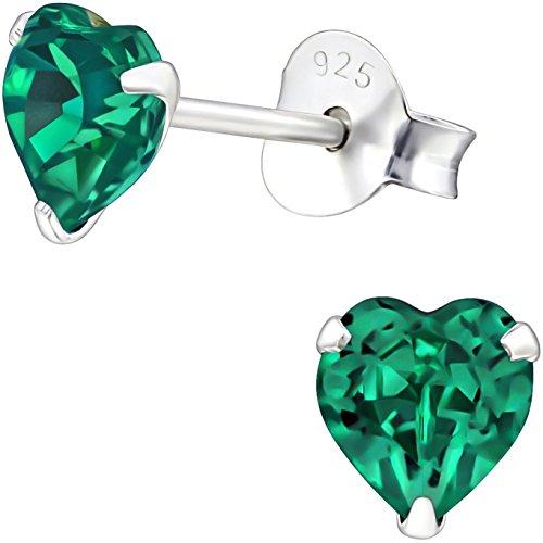 Smaragd-herz-swarovski-ohrringe (EYS JEWELRY Damen Ohrstecker Kristall-Herz 925 Sterling Silber Swarovski Elements 5 mm Ohrringe smaragd-grün)