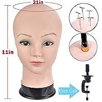 Professional Wig Making Head Training Head Bald Mannequin Head Wig Display Hat Display Glasses Display Manikin Head with Free Clamp