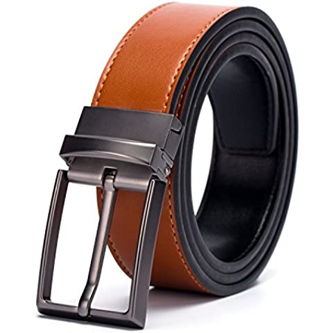 Fine Men's Dress Top Leather Reversible Belt-Classic Designs-Removable Buckle