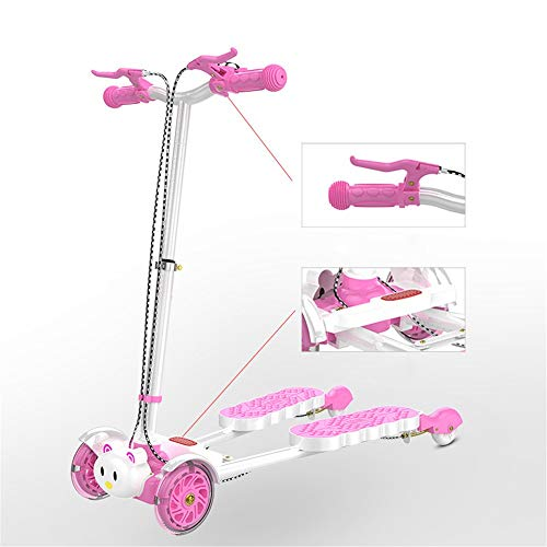 ZHIJINLI Scooter 2-3-6-8 years old feet frog scissors four wheel toy swing twist car pink flash wheel no music Img 1 Zoom