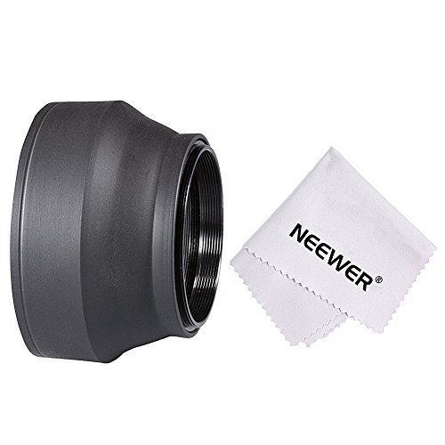 Neewer® 52mm parasol de goma plegable 3 en 1 para Canon EOS 700d, 650d, 550d, 500d, 450d Nikon D3100D5100, Pentax, Sony, Sigma y otros lentes de cámara con filtro de 52mm + paño de microfibra para limpieza