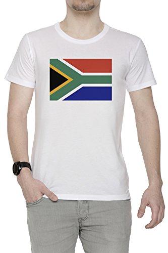 Süd Afrika National Flagge Herren T-Shirt Rundhals Weiß Kurzarm Größe S Men's White Small Size S (Süd-afrika Flagge T-shirt)