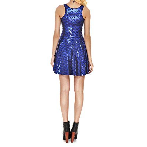 Highdas Neue Ankunft Plus Gro?e Damen Kleid Digital Print Mermaid Farbskalen Kleid Armellos Blau