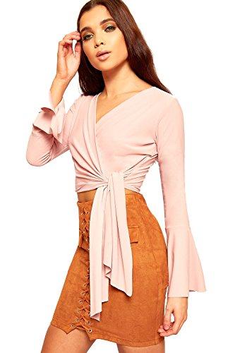 WearAll Femmes Longue Évasée Cloche Manche Lié Avant Crop Haut Dames Crêpe Enveloppe Sur Belted - 34-40 Rose