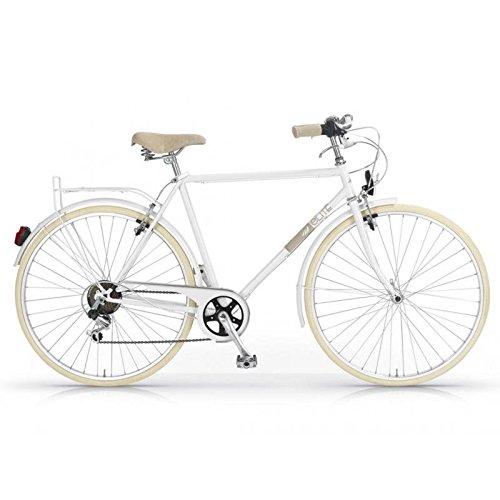 """MBM Elite - Bicicleta de paseo, hombre, diseño vintage clásico, rueda de 28\"""", 6 velocidades (Blanco)"""