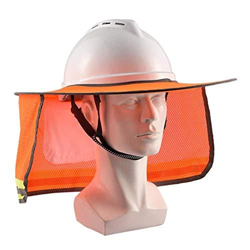Breay1986 Sonnenschutz Schutzhelm Sonnenschutz BAU Hut Sommer atmungsaktiv Sonnenschutz Panel Falthut Kapuze (Color : Orange)